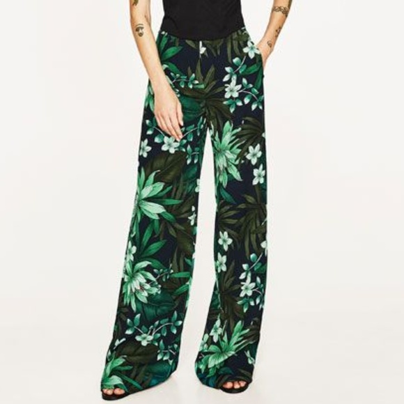 Zara Pants - 🌴 Tropical Green Palazzo Pants